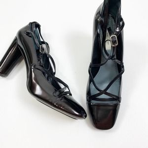 Marc Jacobs Black Patent Leather Strappy Pumps